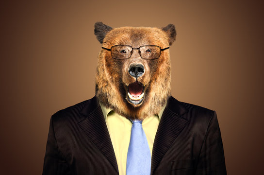 Portrait of a funny bear in a business suit and glasses