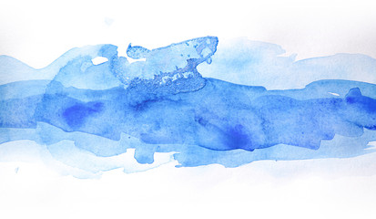 Blue watercolor strip band, on white background isolated. Hand-drawn blot on white background isolated.