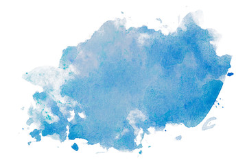 Blue watercolor stain, on white background isolated. Hand-drawn blot on white background isolated.