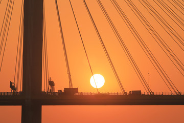 a sun set of Ting Kau Bridge hk