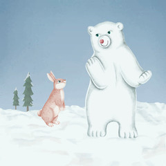 Fototapete - Hand-drawn white polar bear cub and a pink rabbit on a snow-covered ground