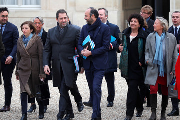 French Prime Minister Edouard Philippe and members of the French government arrive at the Elysee Palace for the first weekly cabinet meeting of the year in Paris