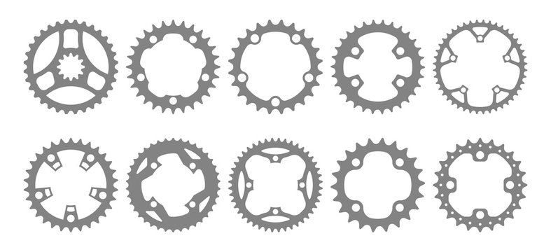 Vector set of ten bike chainring silhouettes (chainwheels, sprockets) isolated on white background.