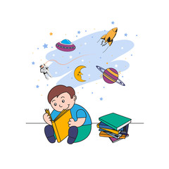 vector illustration of a little boy reading a book and dreaming of flying in space,cartoon design