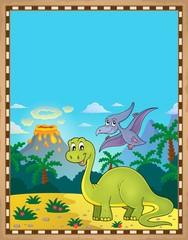 Photo sur Plexiglas Dinosaurs Dinosaur theme parchment 1