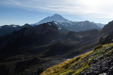 Dramatic alpine landscape in autumn and Mount Baker near dusk