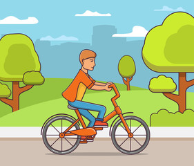 Young guy rides a bike in public park in city.Man cyclist.Concept of design of a sports poster. Flat line art vector.Bicycle hire rent.