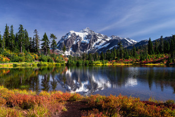 Picture lake reflecting Mount Shuksan on a beautiful day in Washington State