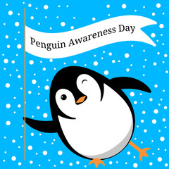 Penguin Awareness Day. Penguin slides on the ice, winks, holds a flag with the name of the event