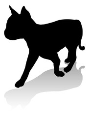 An animal silhouette of a pet cat