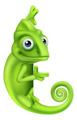 A chameleon green lizard cartoon character peeking around a sign illustration