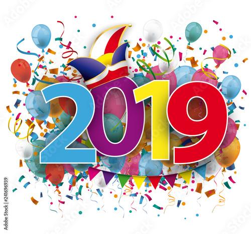 Fasching 2019 Mit Narrenkappe Luftballons Und Konfetti Stockfotos