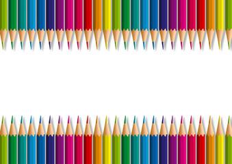 Concept de fond décoratif pour une présentation, avec des crayons de différentes couleurs, rangés côte à côte, pour former un dégradé de couleurs