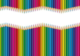 Concept de fond décoratif pour une présentation, avec des crayons de différentes couleurs, rangés côte à côte en formant une vague, pour former un dégradé de couleurs