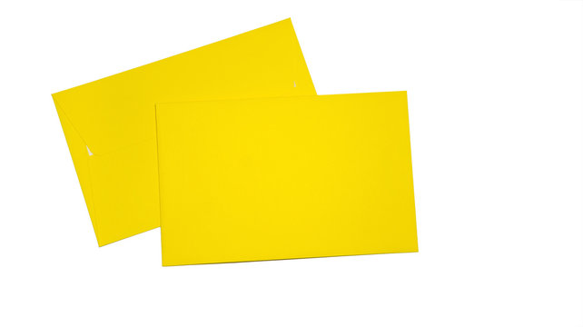 Two yellow envelopes isolated on white background