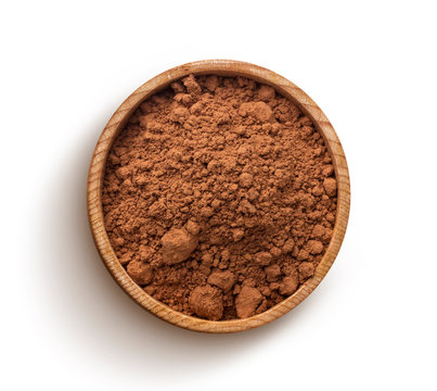 Cocoa powder isolated on white background. Top view