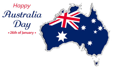 Happy Australia day background or greeting card, festive vector illustration, australia independence day. map with flag of australia