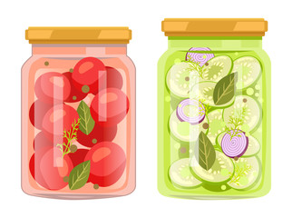 Preserved Food in Jars, Vegetables with Bay Leaves