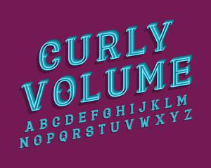 Curly volume isolated english alphabet. 3d blue letters vintage font.