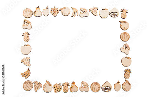 Square Rectangular Frame Of Wooden Fruit Stock Photo And Royalty