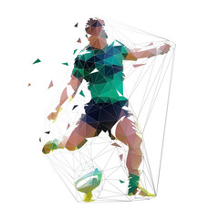 Rugby player kicking ball, isolated low polygonal vector illustration