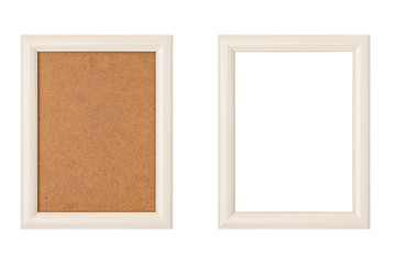 set of two white wood picture frames with passepartout, isolated on white