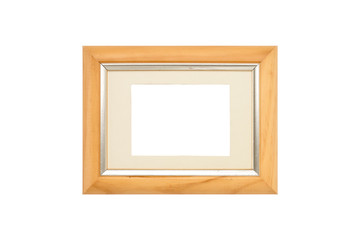 old wood picture frame with passepartout, isolated on white