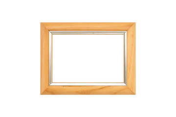 wood picture frame with silver, isolated on white