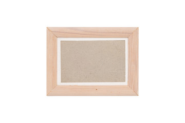 wood picture frame with passepartout, isolated on white