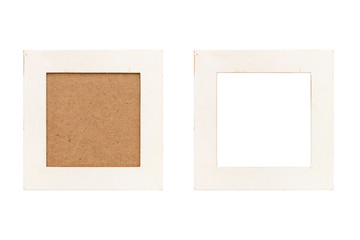 set of two old white wood picture frames with passepartout, isolated on white