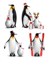 Penguin Winter Activities Realistic