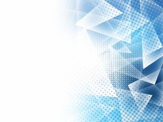 Abstract low poly blue triangles polygon and halftone with copy space