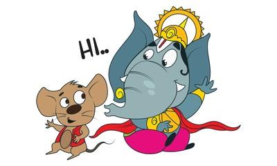 Vector cartoon illustration of lord ganesha saying hi. Isolated on white background.