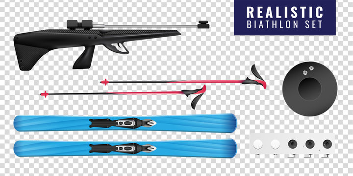 Realistic Biathlon Transparent Horizontal Icon Set