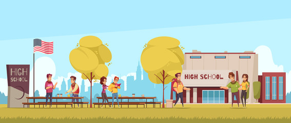 High School Cartoon Illustration