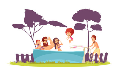 Family Active Holidays Pool Illustration