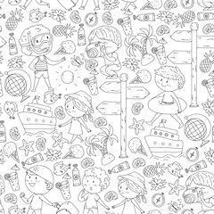 Happy children playing at seashore, beach, sea, ocean. Kids vacation and travelling. Coloring page, book.