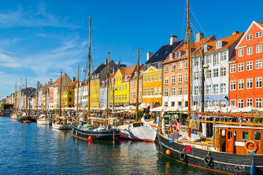 Nyhavn in Copenhagen, Denmark on a sunny day