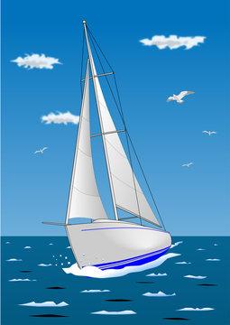 白いヨットのイラスト