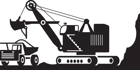 Excavator loading  heavy duty truck with ore - vector illustration