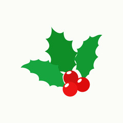 Holly berry Christmas. Mistletoe with Red Berries and Green Leaves. Winter. Vector illustration. EPS 10.