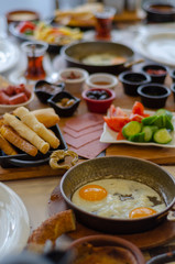 Turkish Breakfast on the table,top view