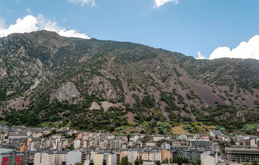Aerial view of Andorra la Vella with the mountains of the Pyrenees in the background