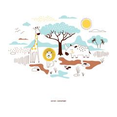 decorative yellow and blue savannah wildlife illustration with giraffe, lion, rhino, scandinavian style safari graphic, kids summer t-shirt print
