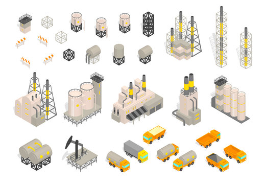Set industrial factories plant building and trailer delivery. Isometric vector illustration. Industrial production factory.