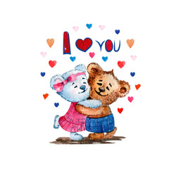Illustration of cute bears. Watercolor. Love. Heart. Illustration for Valentine's Day.