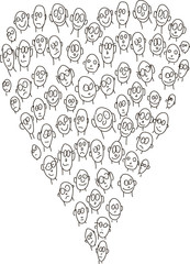 many people's faces, funny heart