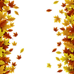 Autumn background with maple and oak leaves
