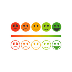 Vector image set of emoticons for rating or feedback.Rating satisfaction.
