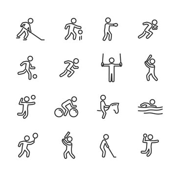 Vector illustration of sports action line icon.Sports game.